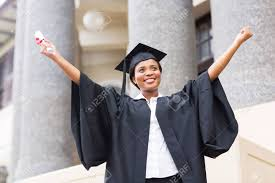 happy african american female student diploma at graduation  happy african american female student diploma at graduation stock photo 26458463