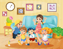 Kids Living Room Children Playing In The Living Room Illustration Royalty Free