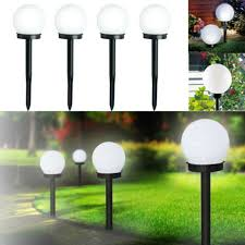 details about 2x large led solar powered white globe ball garden lights stake post lights lamp