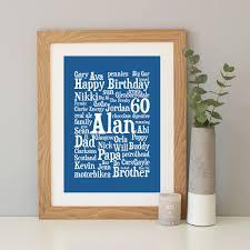 personalised 60th birthday word art gift