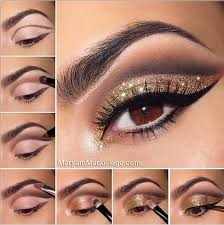 bronze and gold smokey eye for brown eyes