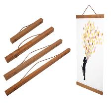 1pc wood magnetic wooden photo frame diy poster scroll print artwork hanger es 1 of 10 see more