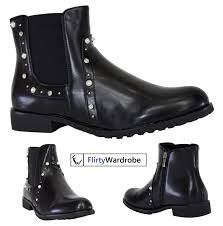Womens Ankle Chelsea Pu Boots Low Heel Diamante Zip Closure Casual Ladies Shoes