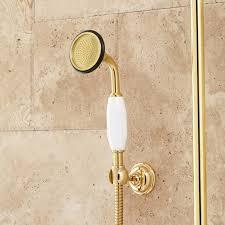 polished brass hand shower