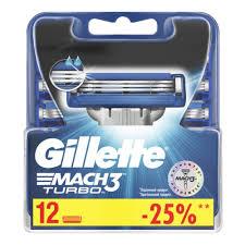 Сменные <b>кассеты</b> для бритья <b>GILLETTE Mach3 Turbo</b>, 12 шт ...