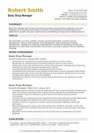 Auto Service Manager Resumes Body Shop Manager Resume Samples Qwikresume