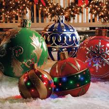 Decorating Christmas Ornaments Balls Giant Outdoor Lighted Ornaments The Green Head 98