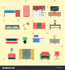 creative furniture icons set flat design. flat style modern creative furniture web app concept icon set website interior object vector icons design i