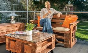 outdoor furniture pallets. Outdoor Pallet Furniture Ideas Creative Garden Armchair Wooden Table Glass Top Pallets