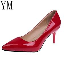 designer dress shoes 2019 y women red pointed toe pumps patent leather dress high heels boat wedding zapatos mujer 8cm summer shoes womens loafers from