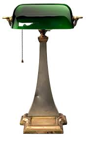 Brass And Nickel Antique Adjustable Executive Desk Lamp With Curved Green Glass Shade