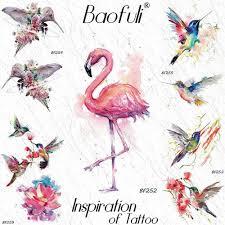 Baofuli сексуальная акварель фламинго временные татуировки наклейки