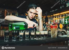 © Stock Alcoholic Shots Bartender Bodnarphoto The Girl Bar Glasses Alcohol With Barman 180011204 — Pours Creates Photo At Into Show