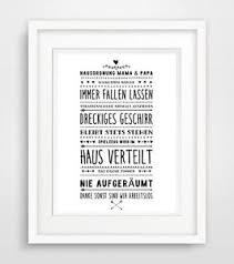 Lustige Hausordnung Druck Bild Poster Deko Spruch Leben Motivation