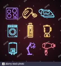 Neon Light Blender Household Appliance Neon Light Icons Set Cooktop Mixer