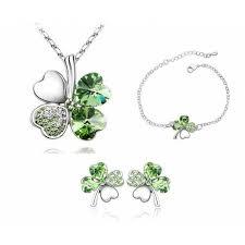 s 10 earring jewelry bags green clover pendant earring bracelet set jewellery cfs0144