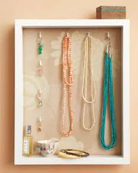 interior: Appealing Shadow Necklace Holder Diy Desaign Ideas With Square  Wood Around Nice Wallpaper And