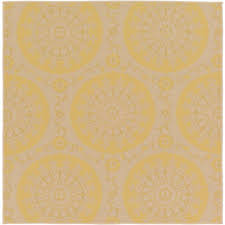 outdoor botanical yellow 6 x 6 39 square rug