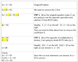 Algebra Equations - Two Step Equations