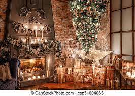 alternative tree upside down on the ceiling winter home decor in loft interior