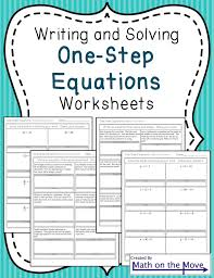 One-Step Equations worksheets (including word problems) | Word ...