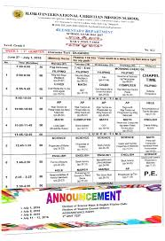 Daily Time Table Daily Time Table Grade Five Iloilo International Christian