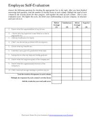 employee evaluation of manager form employee self assessments employee self assessment form example