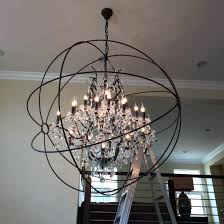 crystal orb chandelier restoration hardware orb smoke crystal chandelier matte natural iron