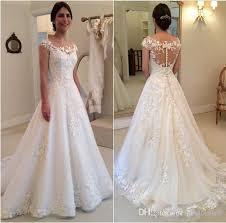 2016 modest new lace appliques wedding dresses a line sheer bateau