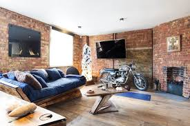 Simple Modern Living Room With Brick Fireplace Extraordinary Alluring On Models Ideas