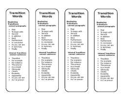 Transistion Words Transition Word Bookmark By Kirstin Macky Teachers Pay Teachers