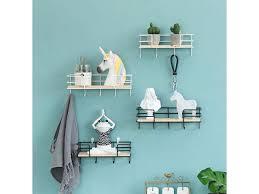 3 4 5 hooks wood wall mounted shelf