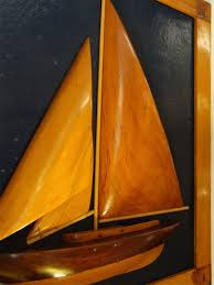 mid 20th century carved wood sloop half hull with wooden sails