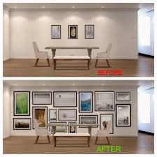 the correct way to do it would be as such imagine that the picture gallery is an area rug except it s on the wall better yet imagine that the picture