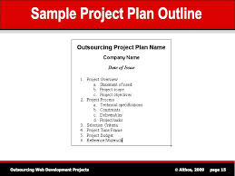 Sample Project Plan Outline Outsourcing Tutorial Sample Project Plan Outline