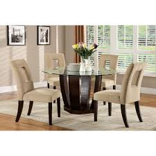 furniture of america lavelle 5 piece glass top dining set dark