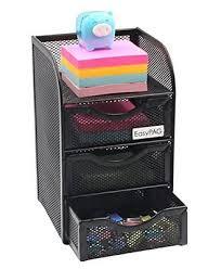 Beautiful EasyPAG Mesh Cute Desk Accessories Organizer Caddy 3 Drawer Mini  Hutch,Black NEW