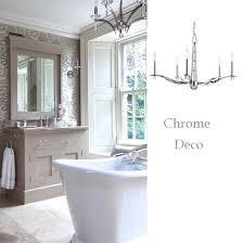 polished chrome sleek arm chandelier deco style bathroom chandelier lighting ideas