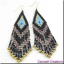 navajo bead designs. Native American Seed Bead Patterns | Long Fringe Earrings By Carosellcreations On Navajo Designs U