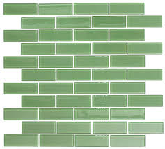1x3 Inch Pale Green Glass Subway Tile