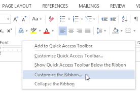 Word Ribbon Word 2013 Customizing The Ribbon