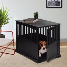 large indoor dog pet crate end table bed black solid wood family room bedroom