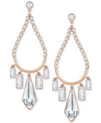 swarovski earrings chandelier crystal rose gold tone