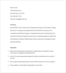 Math Tutor Resum Good Tutor Resume Sample Best Sample Resume