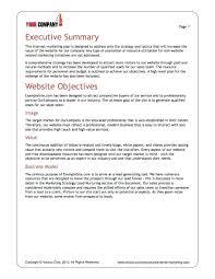 010 Executive Summary Template Doc Ideas Restaurant Sample