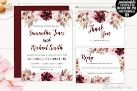 Free Downloadable Wedding Invitation Templates Marsala Wedding Invitation Template Invitation Templates 48