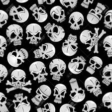 skeleton skulls seamless background wallpaper with vector pattern of craniums and crossbones stock vector