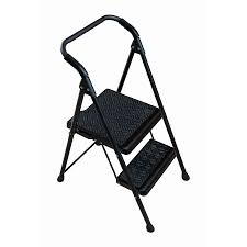 werner 2 step 250 lbs capacity black steel foldable step stool