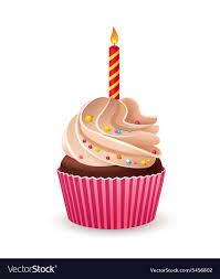 birthday cupcake with candle. Exellent Candle Birthday Cupcake With Burning Candle Vector Image Inside Cupcake With Candle A