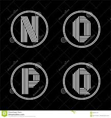 Capital letters N, O, P, Q . From white stripe in a black circle.